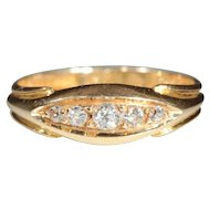 Vintage 18k Edwardian Diamond 5 Stone Ring Hallmarked Chester, England 1914