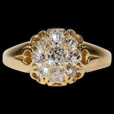 Victorian Cushion Cut Diamond Cluster Ring in 18k Gold