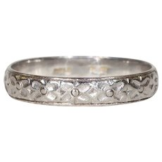 Vintage 1950s Platinum Wedding Band Ring with Floral Motif