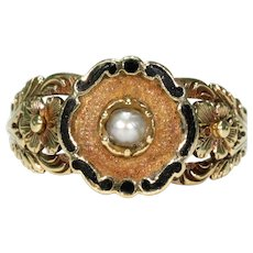 Antique Gold Enamel Pearl Memorial Ring Dated 1831