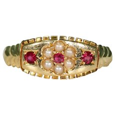 Victorian Ruby Pearl Ring 18k Gold Hallmarked 1900