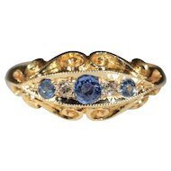 Vintage 18k Edwardian Sapphire and Diamond Ring Hallmarked Birmingham 1916