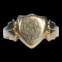 Edwardian Mens 18k Gold Shield Ring Hallmarked Chester 1905
