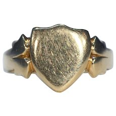 Edwardian Mens 18k Gold Shield Ring Hallmarked Chester 1905