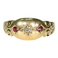 Edwardian Ruby Diamond Ring Hallmarked 1904 18k Gold