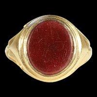 Fantastic Antique Signet Ring, Carnelian in 18k Gold c. 1900
