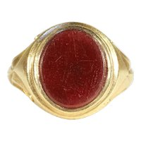 Fantastic Antique Signet Ring, Carnelian in 18k Gold c. 1900