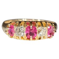 Antique 18k Ruby and Diamond Ring Hallmarked Birmingham, 1902