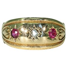 Edwardian Ruby Diamond Ring 18k Gold Inscribed