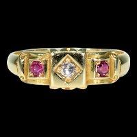 Victorian Ruby Diamond Ring 18k Gold Hallmarked 1894