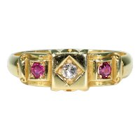 Victorian Ruby Diamond Ring 18k Gold Hallmarked 1894