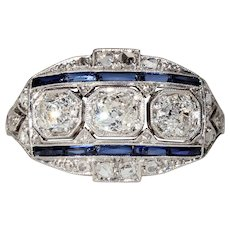 Vintage Art Deco Platinum Diamond Ring Sapphire Accents 3 Stone