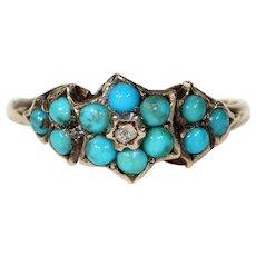 Antique Victorian Turquoise Diamond Ring Hallmarked 1869