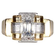 Vintage Retro Asscher Cut Diamond Engagement Ring 1950s