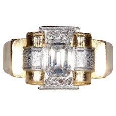 Vintage Retro Asscher Cut Diamond Engagement Ring 1950s