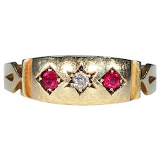Victorian 3 Stone Ruby Diamond Ring 18k Gold 1894