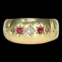 Edwardian Ruby Diamond Ring 5 Stone Hallmarked 1909 18k Gold