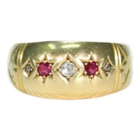 Edwardian Ruby Diamond Ring 5 Stone Hallmarked 1909 18k Gold