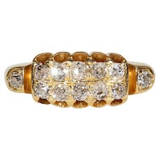 Vintage Art Deco Multi Stone Diamond Band Ring Stacker Gold