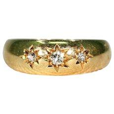 Edwardian 3 Stone Diamond Stacking Ring Wedding Band