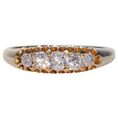 Victorian 5 Stone Diamond Ring Half Hoop