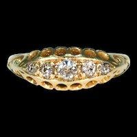 Antique 5 Stone Diamond Ring 18k Gold