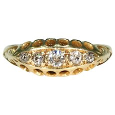 Antique 5 Stone Diamond Ring 18k Gold