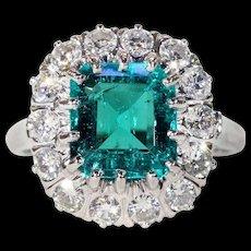French Art Deco Columbian Emerald Diamond Cluster Ring