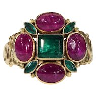 Fabulous Vintage Emerald and Ruby Ring in 18k Gold, French