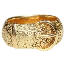 Antique Victorian Engraved Wide 18k Gold Buckle Ring, Men's or Women's Wedding Band