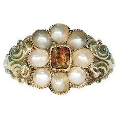 Georgian Pearl Topaz Cluster Ring