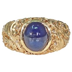 Antique 2.3 Carat Cabochon Sapphire Diamond Ring 18k Gold