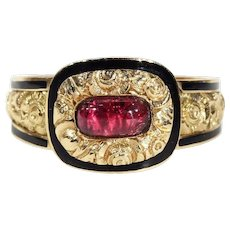 Georgian Garnet Black Enamel Gold Memorial Ring