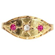 Victorian Ruby and Diamond Ring in 18k Gold, Hallmarked 1879