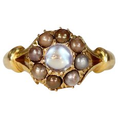 French Moonstone Brown Pearl Cluster Ring
