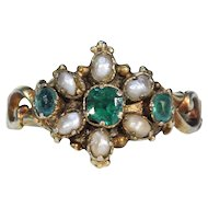 Early Victorian Green Garnet Doublet Pearl Ring