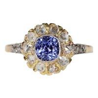 Antique Edwardian Sapphire Diamond Cluster Ring