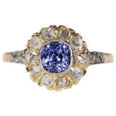 Antique Edwardian Sapphire Diamond Cluster Ring