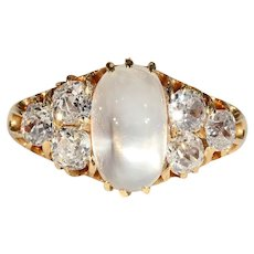 Stunning High Domed Moonstone and 1.25ctw Diamond Ring, Edwardian Antique in 18k Gold