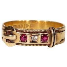 Antique Edwardian Diamond Ruby Buckle Ring 18k Gold Hallmarked 1908