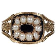 Antique Georgian Black Enamel Pearl Memorial Ring