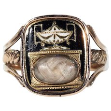 Antique Georgian Memento Mori Memorial Ring Hair Gold Enamel