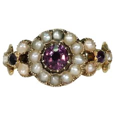 Early Victorian Amethyst Pearl Ring 15k Gold