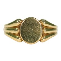 Stunning French 18K Signet Man's Ring, Size 11