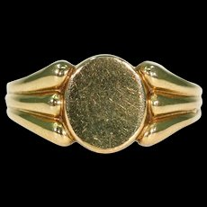 Stunning French 18K Signet Man's Ring, Size 11