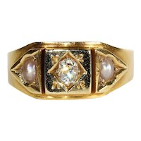 Antique Victorian Diamond and Pearl Ring, Inscribed '1682', 18k c. 1890