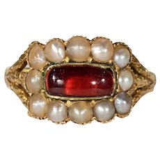 Georgian Garnet Pearl Memorial Ring Gold '1828'