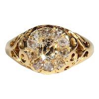 Vintage Diamond Art Nouveau Cluster Ring, 18k Gold