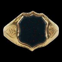 Antique Victorian Sheild Shaped Bloodstone Ring in 15k Gold, Hallmarked 1883