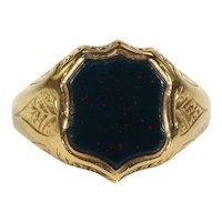 Antique Victorian Sheild Shaped Bloodstone Ring in 15k Gold, Hallmarked 1883